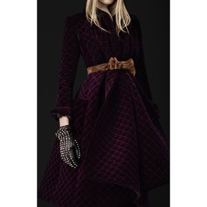 Burberry Rich Purple Quilted Velvet Coat with Belt